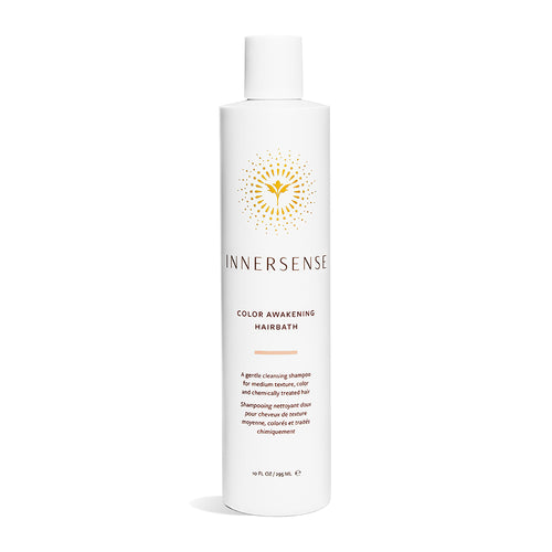 10oz White bottle that reads Innersense Color Awakening Hairbath - organic shampoo for colour treated hair