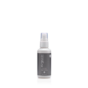 White spray bottle with grey label that reads Organic Colour Systems Control Argan Oil Gloss - a salon quality spray for smooth, healthy hair