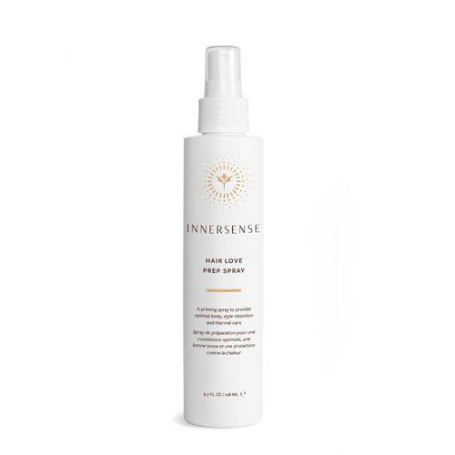 6.7oz White bottle that reads Innersense Hair Love Prep Spray - An organic priming spray that provides body, style retention and thermal care - organic hair care and green beauty product