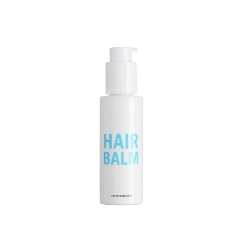 Small white bottle that reads Hair Balm in blue letters - this natural hair balm is perfect for bringing out beautiful curls