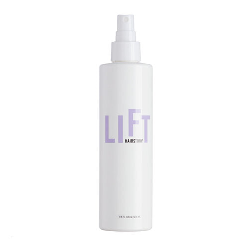 White spray bottle that reads HairStory Lift in purple - natural styling mist