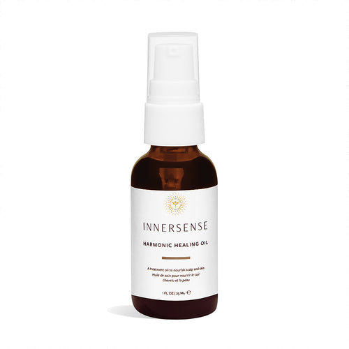 1oz spray bottle that reads Innersense Harmonic Healing Oil - a treatment oil to nourish scalp and skin - organic haircare
