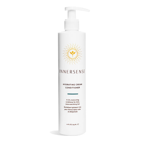 10oz white bottle that reads Innersense Hydrating Cream Conditioner - an organic conditioner for thick, coarse or thirsty hair