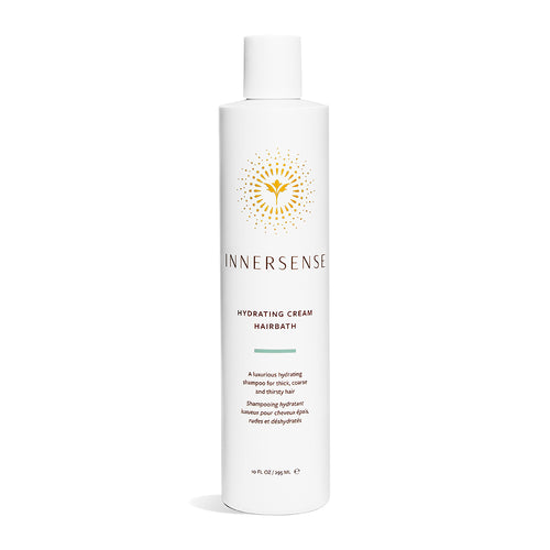10oz white bottle that reads Innersense Hydrating Cream Hairbath - an organic shampoo for thick, coarse and thirsty hair