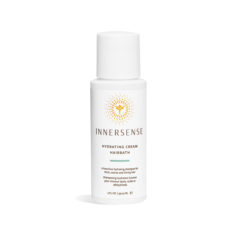 2oz white bottle that reads Innersense Hydrating Cream Hairbath - an organic shampoo for thick, coarse and thirsty hair