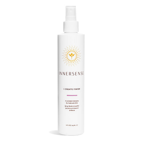 10oz white bottle that reads Innersense I Create Finish - an organic hairspray for hold and shine