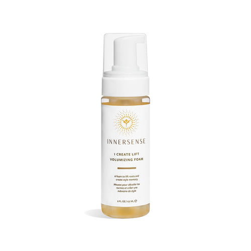 6oz clear bottle that reads Innersense I Create Lift Volumizing Foam - natural styler from Innersense Organic Beauty that lifts roots and promotes volume