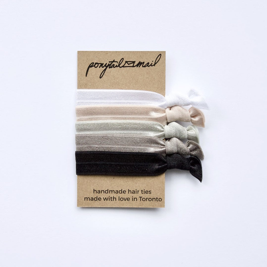 PonyTail Mail Hair Ties, made in Canada, eco friendly, zero waste luxury hair accessories.