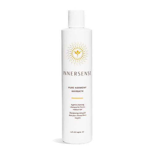 10oz White bottle that reads Innersense Pure Harmony Hairbath - organic natural shampoo for fine to medium hair