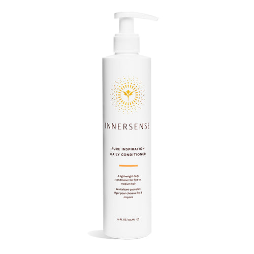 10oz white bottle that reads Innersense Pure Inspiration Daily Conditioner - a lightweight organic conditioner for fine to medium hair