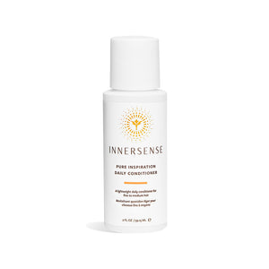 2oz white bottle that reads Innersense Pure Inspiration Daily Conditioner - a lightweight organic conditioner for fine to medium hair