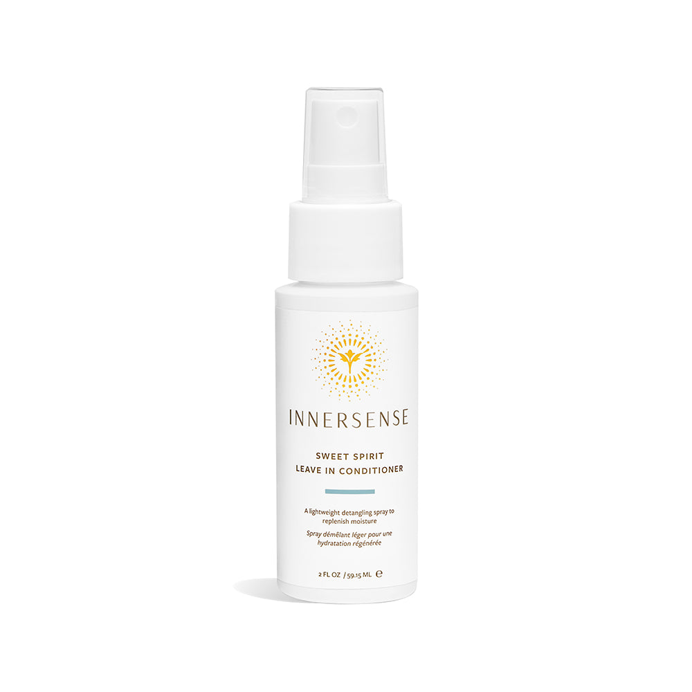 2oz white bottle that read Innersense Sweet Spirit Leave In Conditioner - replenish moisture with this lightweight detangling spray