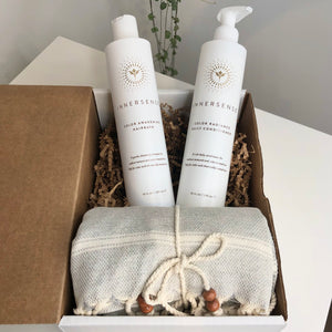 Your Best Hair Bundle - White Innersense Organic bottles and Stray & Wander grey towel in a cardboard box with packaging paper