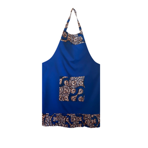 Youth Ruffled Apron with Pockets, Blue & Brown