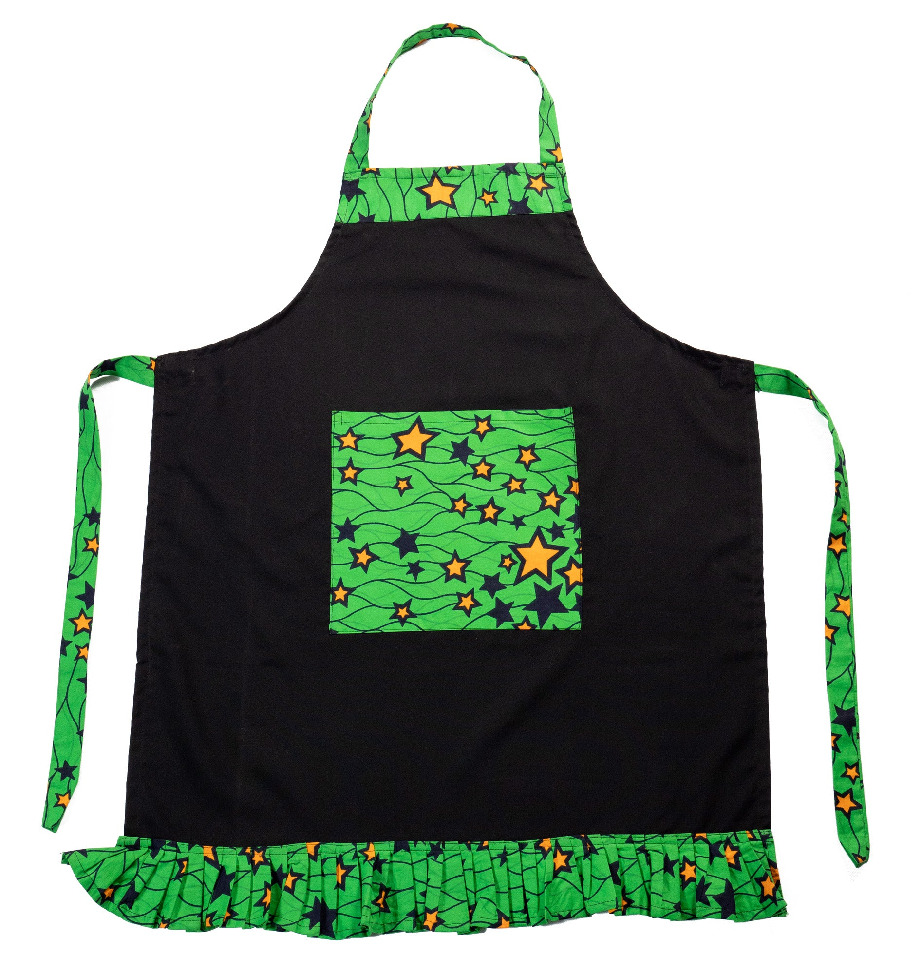Adult Ruffled Apron with Pockets, Black, Green & Yellow