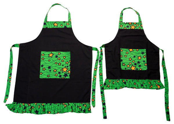 Youth Ruffled Apron with Pockets, Black, Green & Yellow