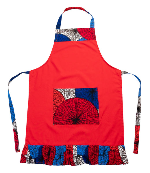Adult Ruffled Apron with Pockets, Red & Blue