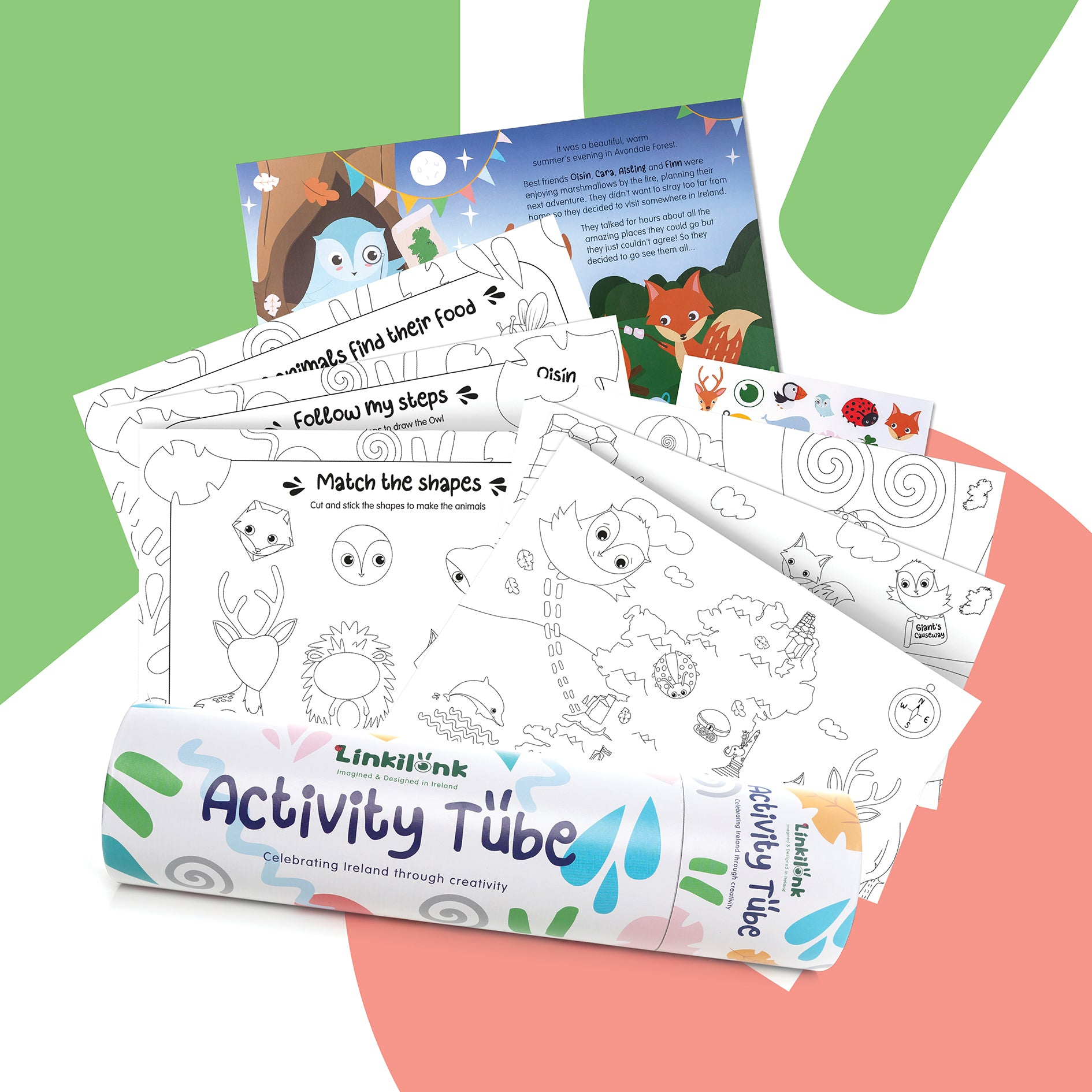 A photo of the Linkilonk A3 activity pages. Colouring pages, Activity pages, sticker pages and story page. All ready for a child to colour in.