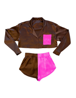 Load image into Gallery viewer, PJ SET CHOCOLATE/PINK