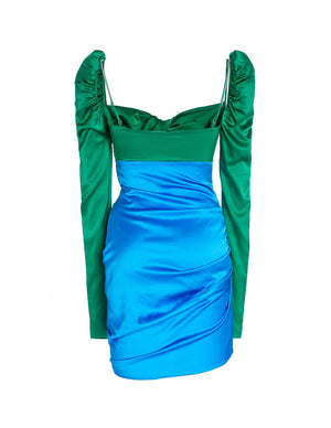 Load image into Gallery viewer, SILK TWIST DRESS EMERALD/COBALT