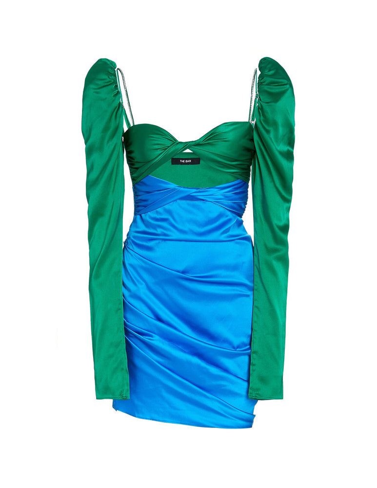SILK TWIST DRESS EMERALD/COBALT
