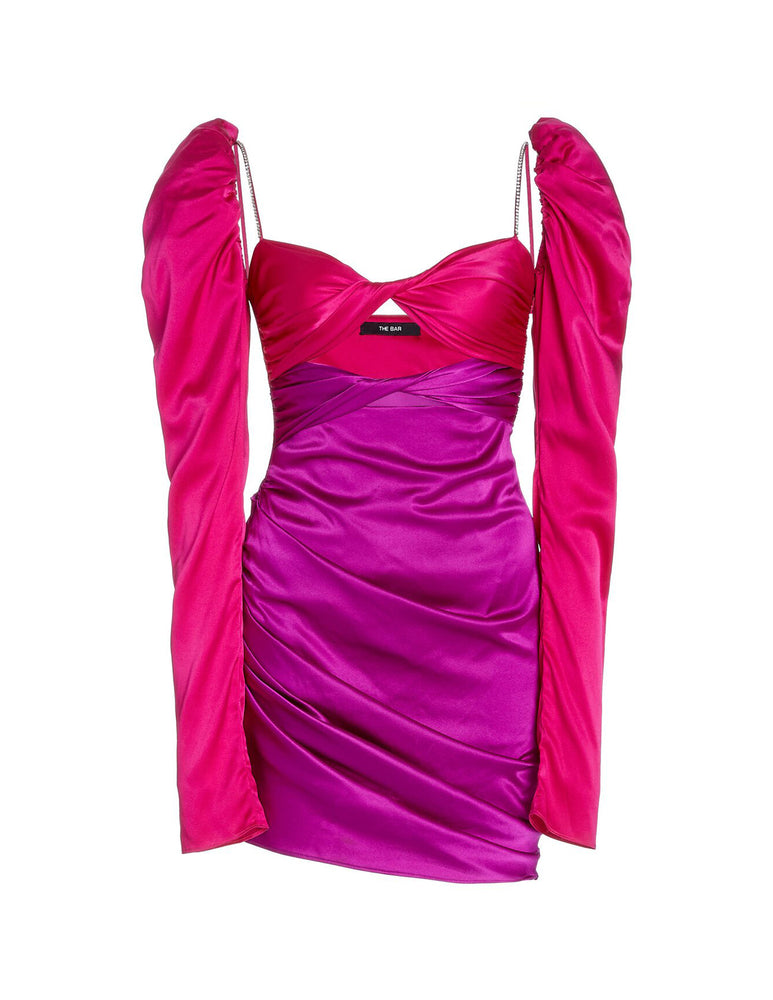 SILK TWIST DRESS FUCHSIA/AMETHYST