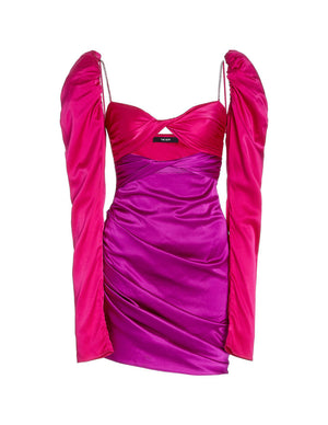 Load image into Gallery viewer, SILK TWIST DRESS FUCHSIA/AMETHYST