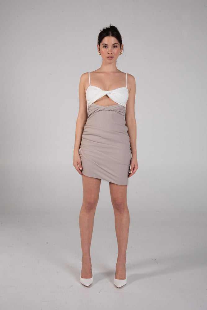 BO DRESS WHITE/TAN