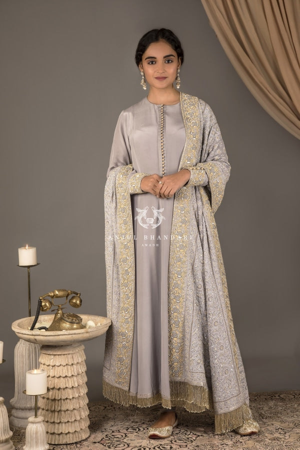 Anarkali Grey Blue