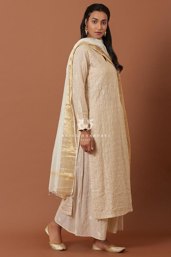 Load image into Gallery viewer, Beige Kurta Set