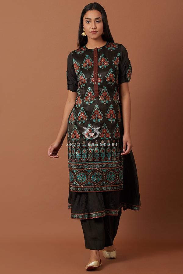 Load image into Gallery viewer, Black Blue & Red Flare Kurta And Palazzo Set Kurta Set