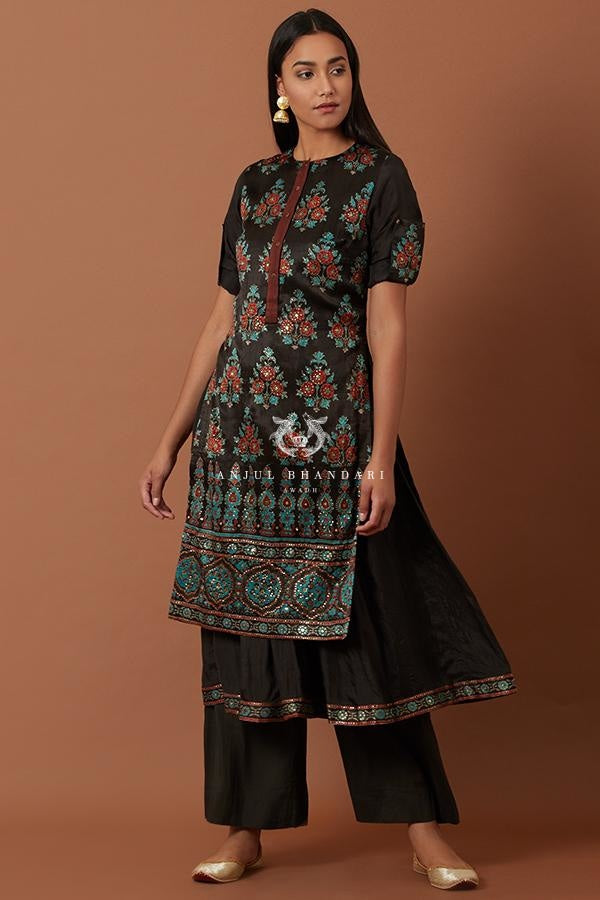 Black Blue & Red Flare Kurta And Palazzo Set Kurta Set