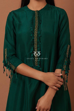 Load image into Gallery viewer, Bottle Green A-Line Kurta Set Set