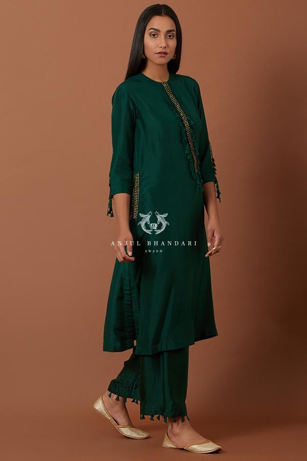 Bottle Green A-Line Kurta Set Set