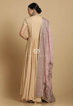 Load image into Gallery viewer, Chikankari Anarkali Nude And Lavender
