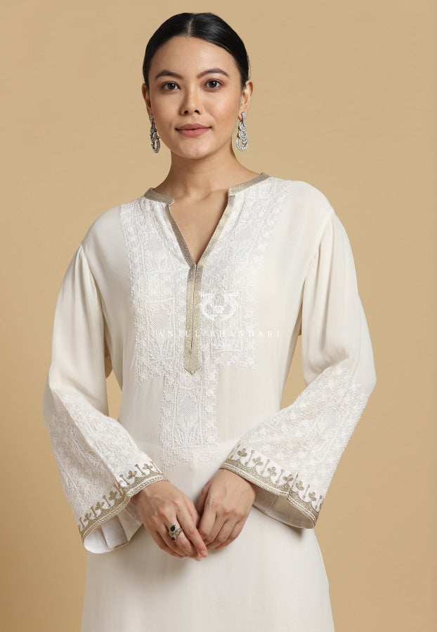 Load image into Gallery viewer, Chikankari Kurta Set Ivory