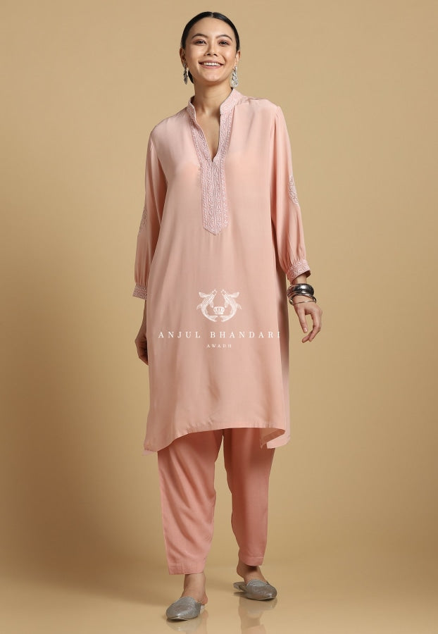 Chikankari Kurta Set Old Rose