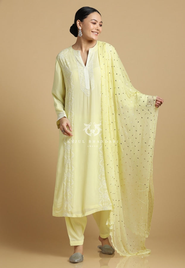 Chikankari & Mukaish Suit Set Mint Lemon Kurta