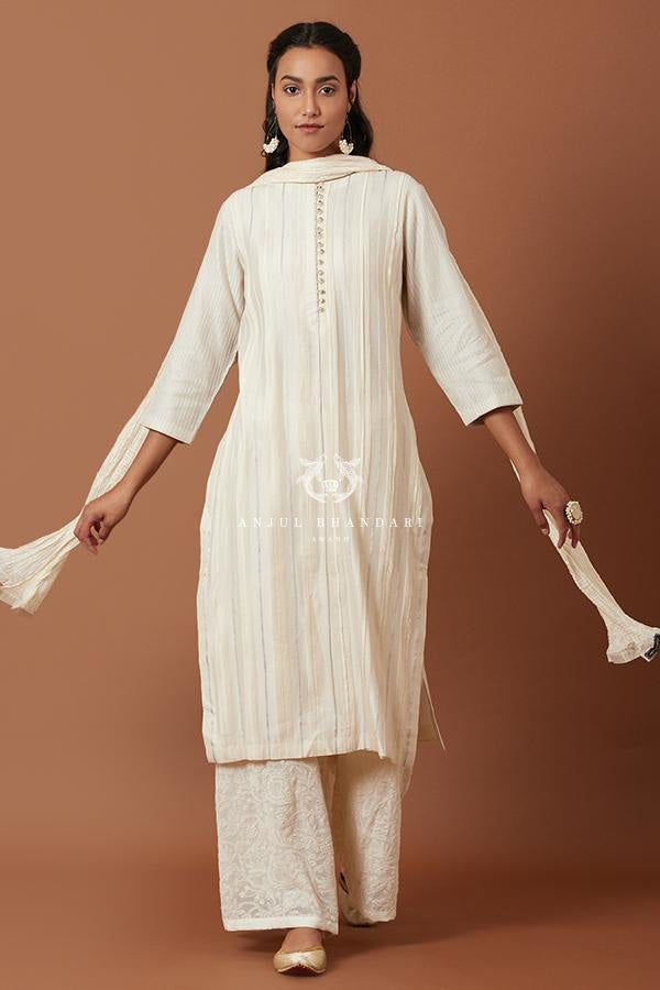 Ivory/blue Kurta Set