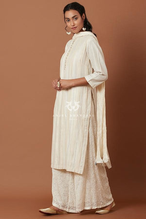 Load image into Gallery viewer, Ivory/blue Kurta Set