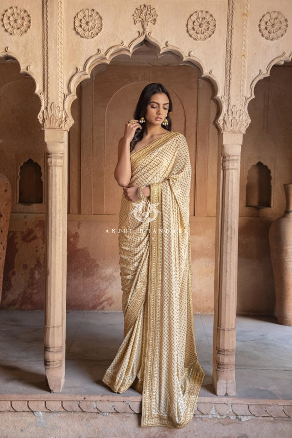 Load image into Gallery viewer, Kamdani Panch Phulia Georgette Saree