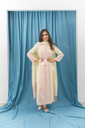 Load image into Gallery viewer, Kurta Set Lemon Yellow And Blush Pink