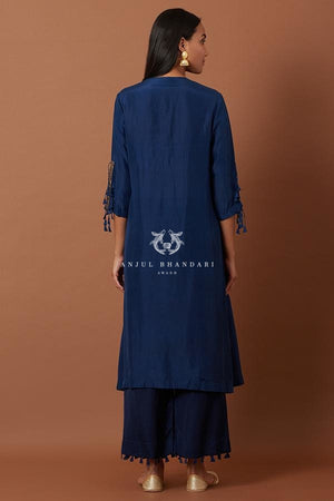 Load image into Gallery viewer, Midnight Blue A-Line Kurta Set Set