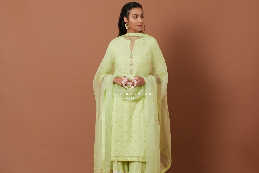 Load image into Gallery viewer, Mint Kurta & Multicolor Tukti Work Sharara Set Set