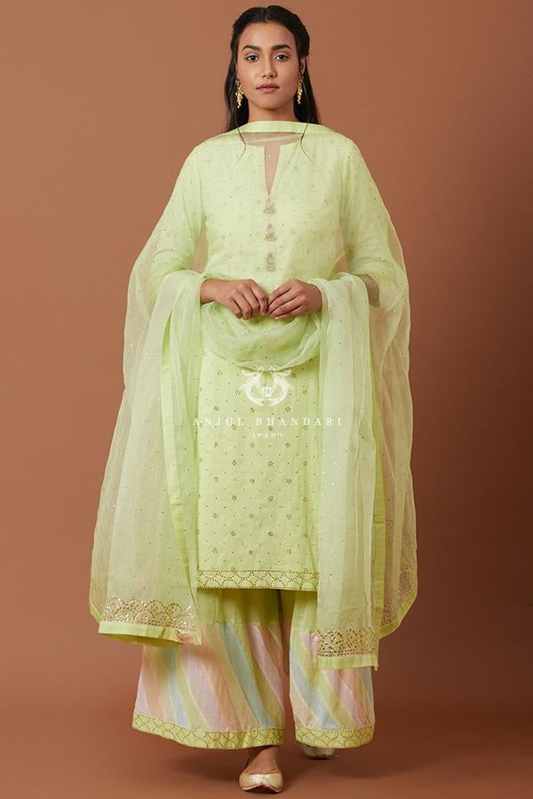 Mint Kurta & Multicolor Tukti Work Sharara Set Set