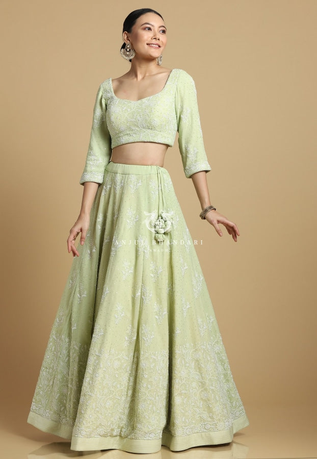 Load image into Gallery viewer, Mukaish Lehenga Apple Green Set