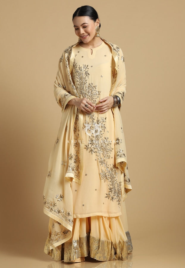 Mukaish Sharara Lemon Yellow Set