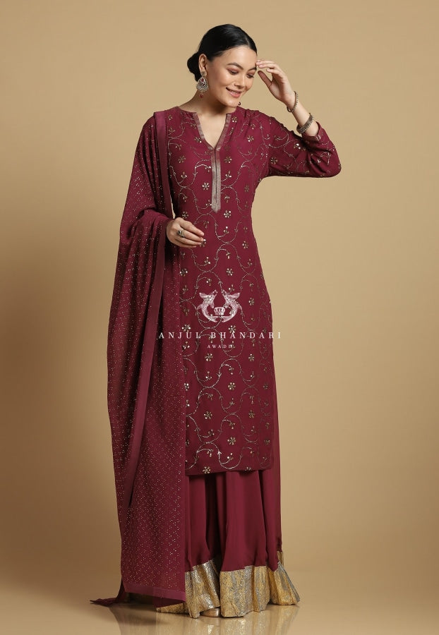 Mukaish Sharara Merlot Set