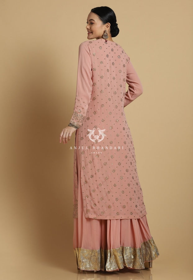 Load image into Gallery viewer, Mukaish Sharara Old Rose Set