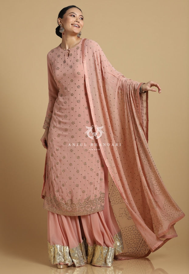 Mukaish Sharara Old Rose Set